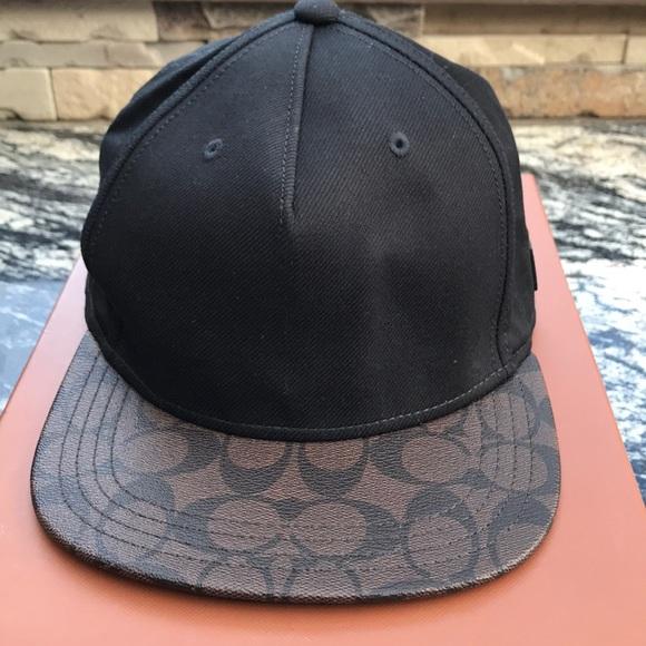 3bcf1d81eeb Coach black and brown flat brim cap NEW